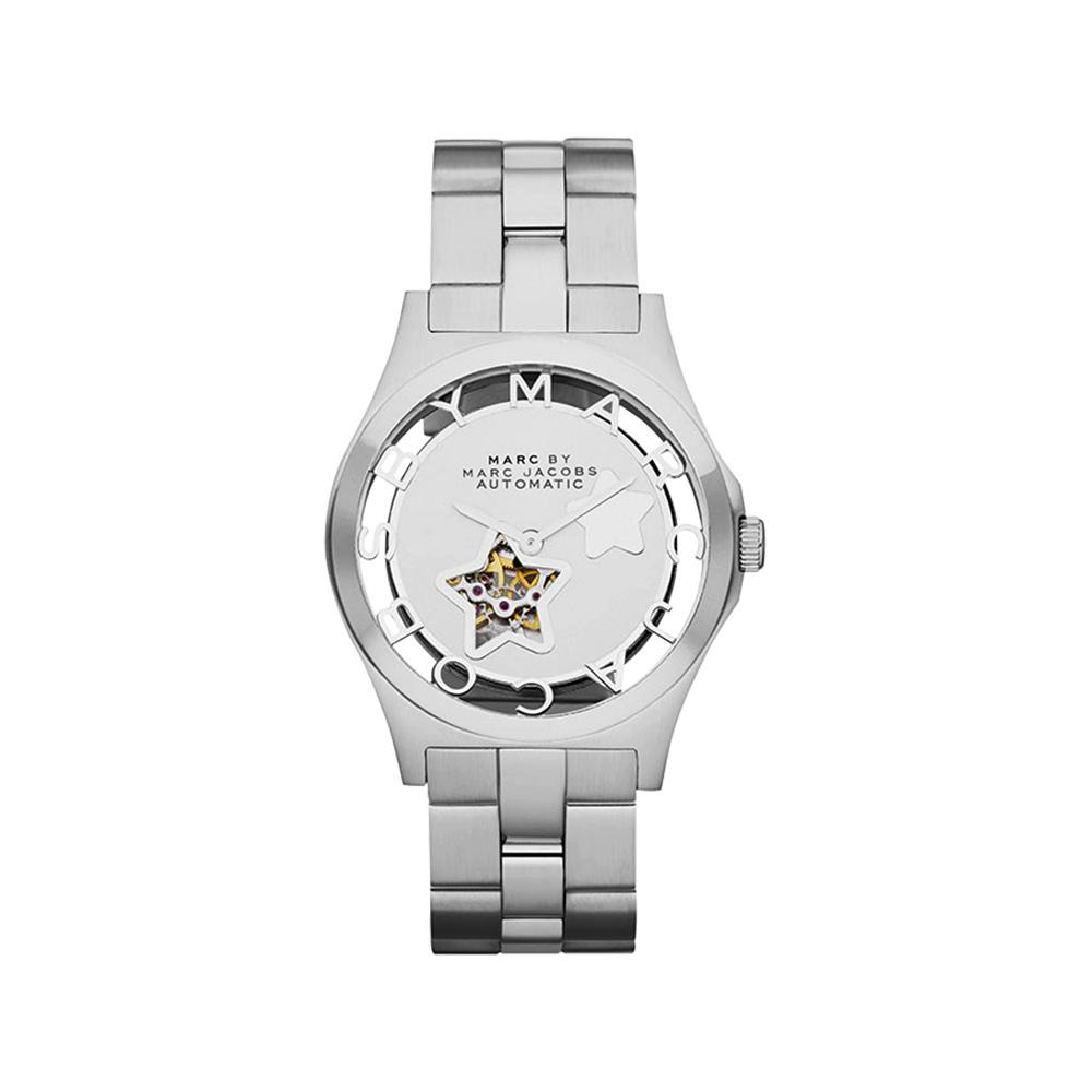 Marc Jacobs Henry 浪漫星空鏤空機械腕錶-銀/40mm
