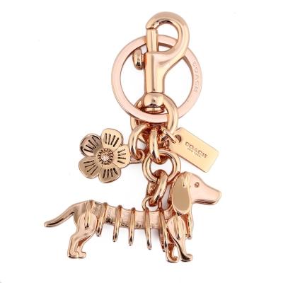 COACH 金屬臘腸狗造型鑰匙圈-玫瑰金色(附盒)