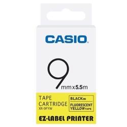 CASIO  標籤機專用特殊色帶-9mm(瑩光色材質)瑩光黃底黑字-XR-9FYW1