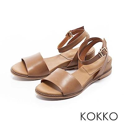 KOKKO-慵懶渡假繫帶寬版真皮涼鞋-芒草棕