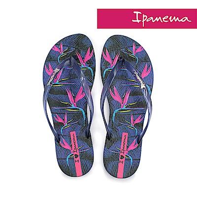 IPANEMA 熱帶花卉夾腳拖鞋-深藍色