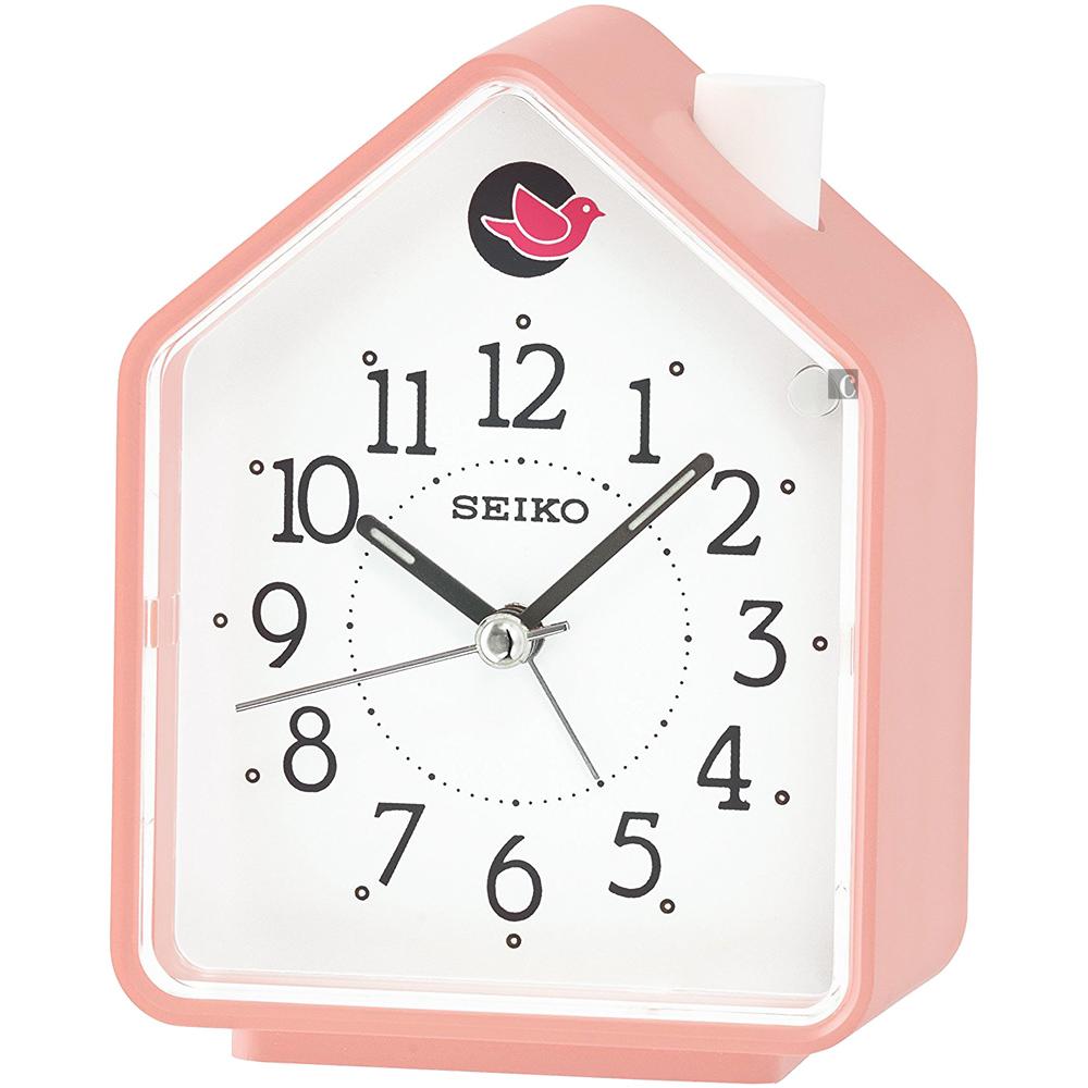 SEIKO精工小木屋原音鳥鳴鬧鐘QHP002P-粉紅