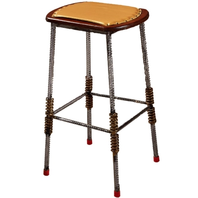 AT HOME - 伍德鋼筋皮面吧台椅 40x40x76cm