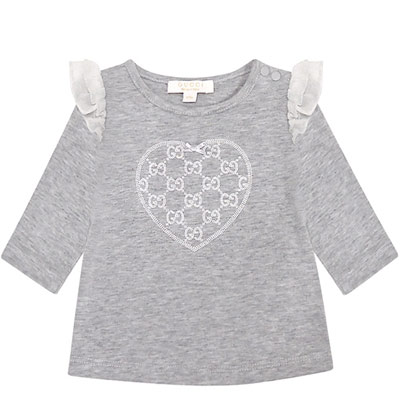 GUCCI 灰色雙G愛心圖樣嬰幼兒長袖上衣-0/3 MONTHS