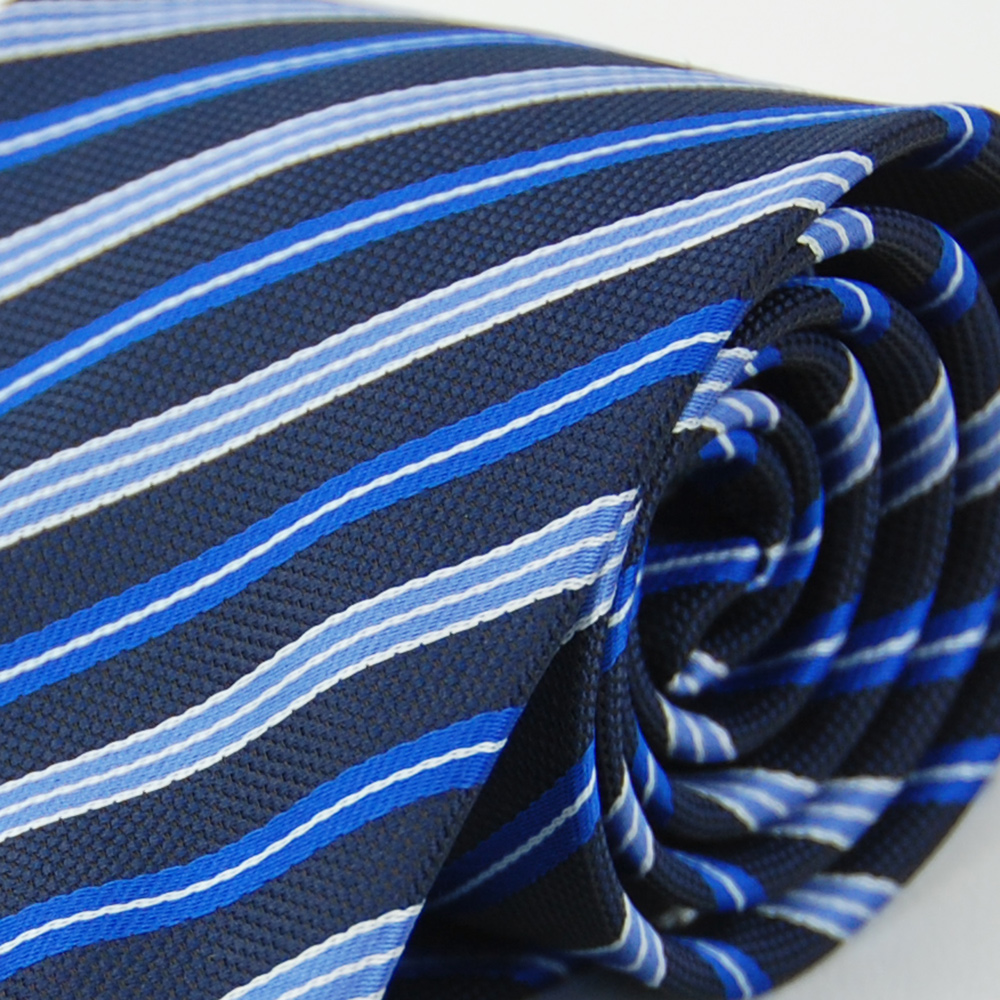 Alpaca 粗細藍斜紋領帶