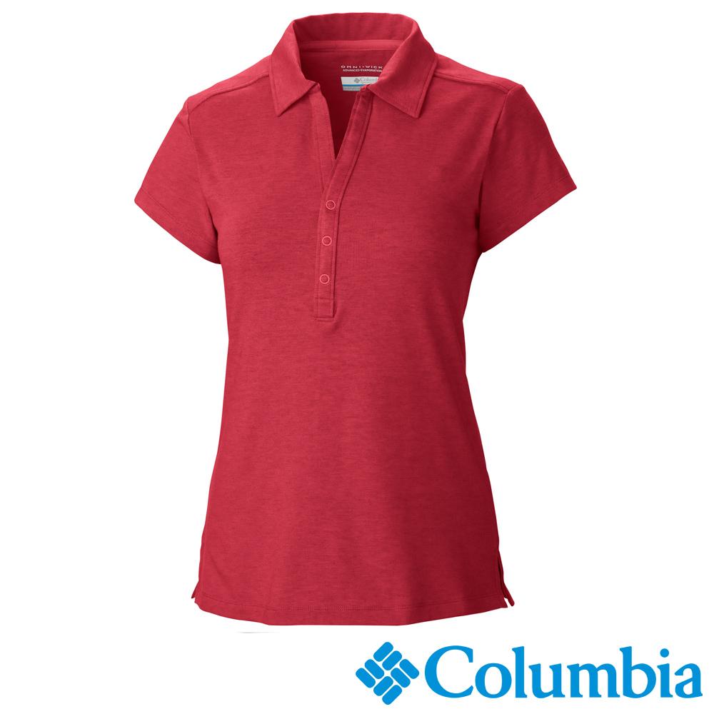 Columbia哥倫比亞 女款-快排短袖POLO衫-紅色 UAL69400RD