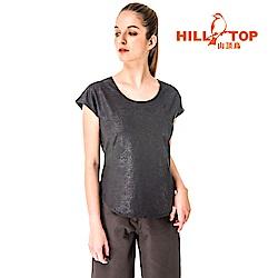 【hilltop山頂鳥】女款吸濕排汗抗UV彈性上衣S04FG6-黑色
