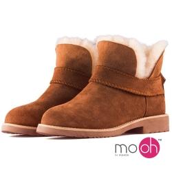 mo.oh 全真皮 羊皮羊毛V口顯瘦短筒雪靴-棕色