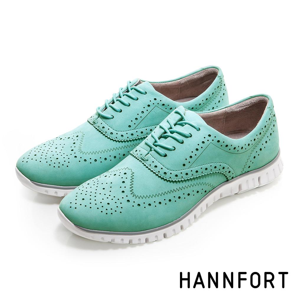 HANNFORT ZERO GRAVITY輕舞牛津翼紋雕花氣墊鞋-女-珊瑚藍8H