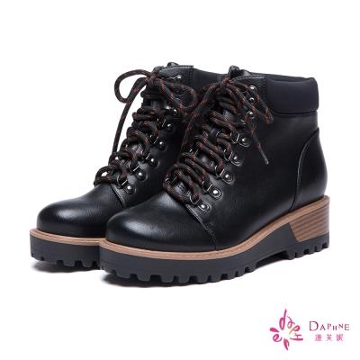 達芙妮DAPHNE-短靴-撞色花繩綁帶短靴-黑8H