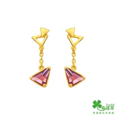 幸運草 三角遊戲黃金/水晶耳環