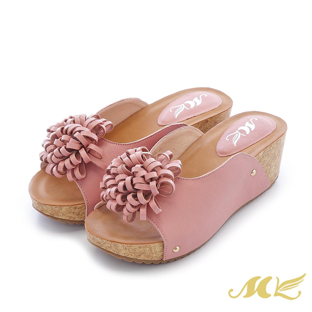 MK-真皮手作-大花朵U形厚底楔型跟拖鞋-粉色