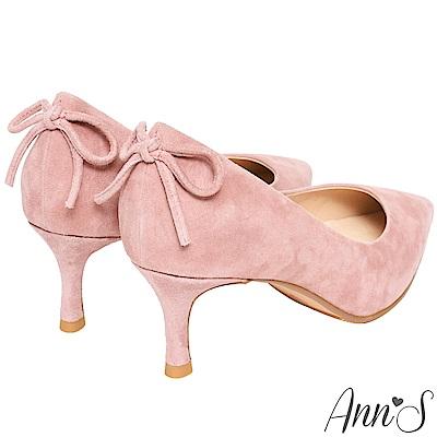 Ann'S輕熟感-柔軟羊麂皮典雅蝴蝶結尖頭低跟鞋-粉
