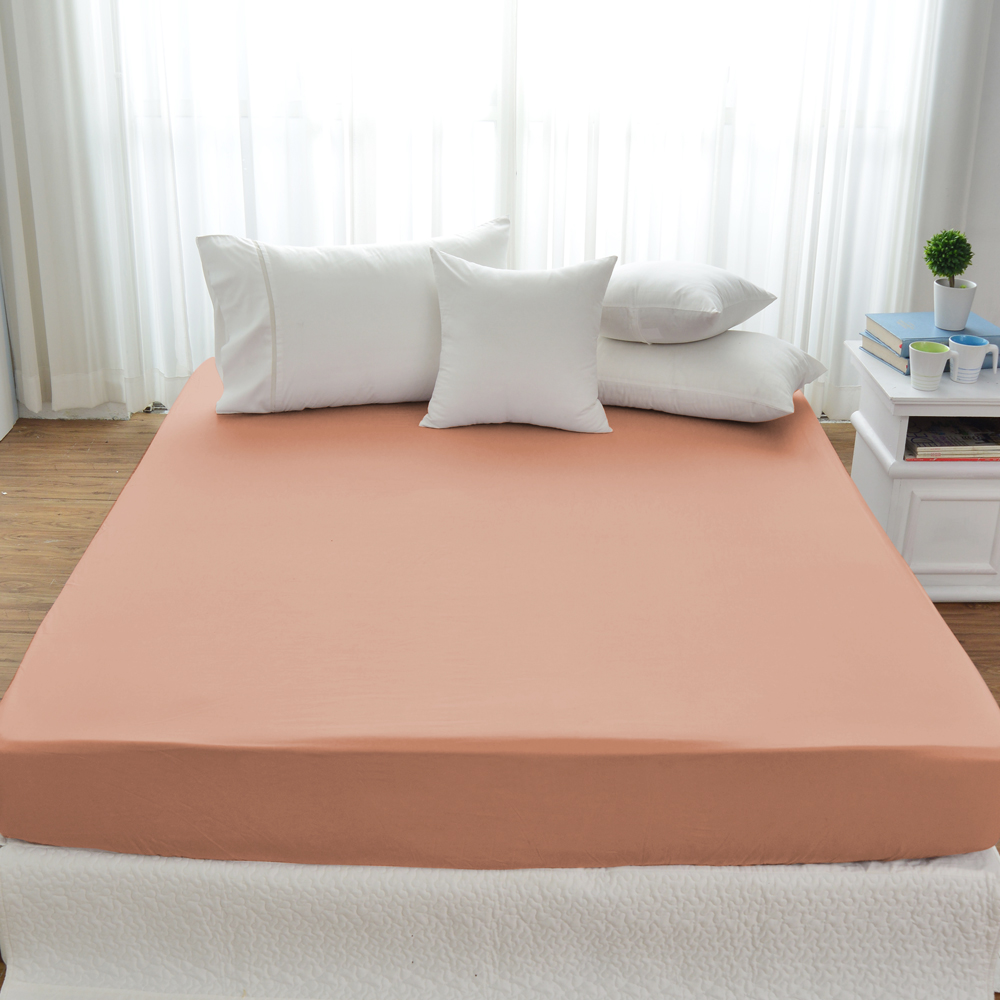 Cozy inn 簡單純色-梅子咖-200織精梳棉床包(加大)