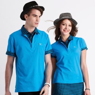 【LEIDOOE】格紋領假兩件男女短袖POLO衫(16510、16610)藍色