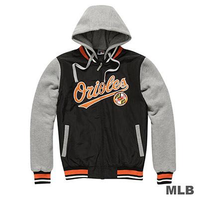 MLB-巴爾的摩金鶯隊鋪棉連帽針織撞色棒球外套-黑(男)