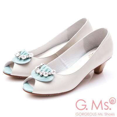 G.Ms. MIT系列- 牛皮魚口鑽飾粗跟鞋-水藍
