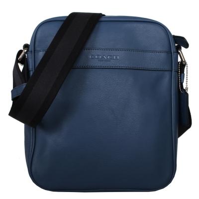 COACH-直立皮革斜背包-藍-黑藍背帶