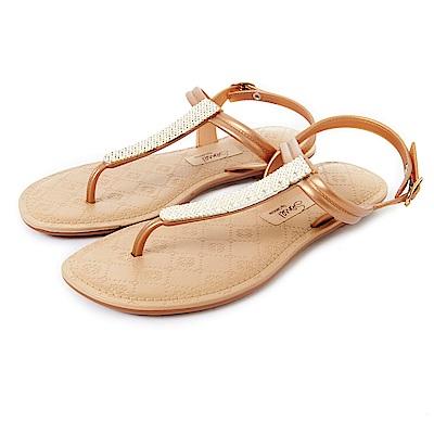 GRENDHA 晶亮菱格紋T字帶涼鞋-褐色