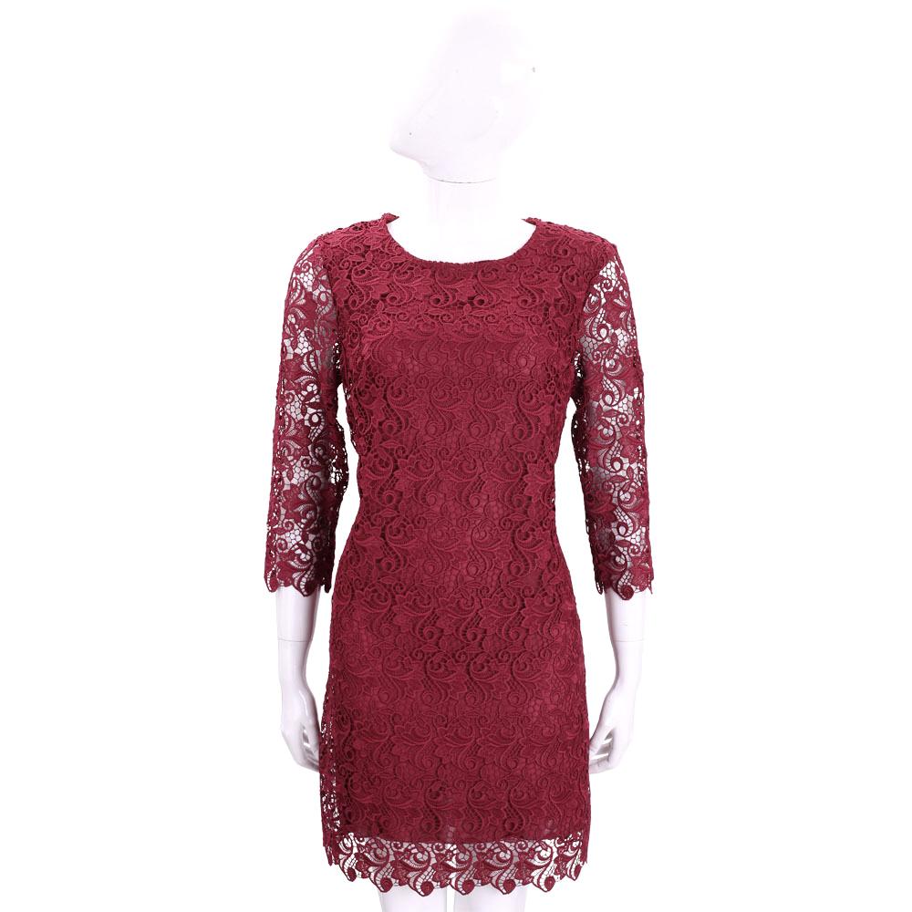 ERMANNO SCERVINO 紅色縷空織花七分袖蕾絲洋裝