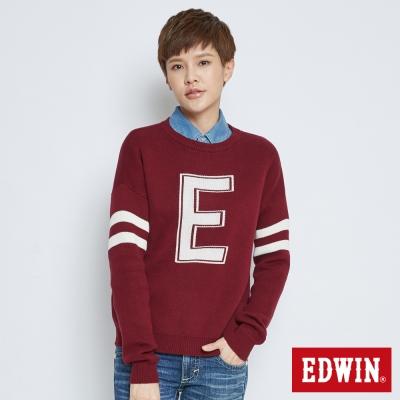 EDWIN流行前衛落肩E字毛衣-女-紅色