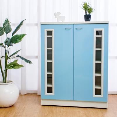 Birdie南亞塑鋼-2.7尺透視二門塑鋼鞋櫃(粉藍色)-81x37x103cm