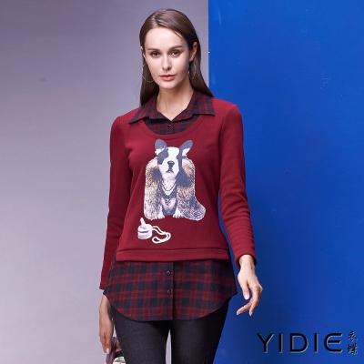 YIDIE衣蝶 格子襯衫棉質假兩件上衣-紅
