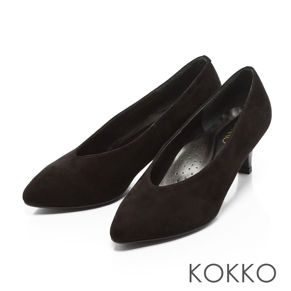 KOKKO-復古雅緻尖頭深V羊麂皮高跟鞋-黑