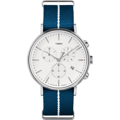 TIMEX 天美時 週末Fairfield系列 三眼計時手錶-藍帆布帶/41mm