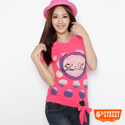 5th-STREET-活力滿點-漸層泡泡綁帶T恤-女款-桃紅