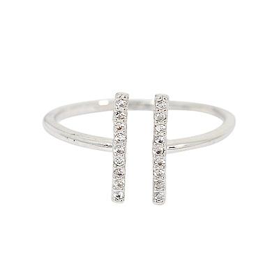 ASTRID&MIYU英國潮流品牌 開口水鑽H型可調節戒指 銀色