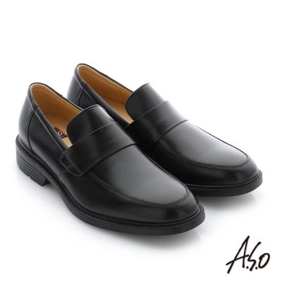 A.S.O 學生鞋 真皮素面直套式通勤鞋 黑軟皮
