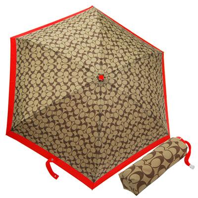 COACH卡其C-Logo紅邊輕量攜帶型晴雨傘