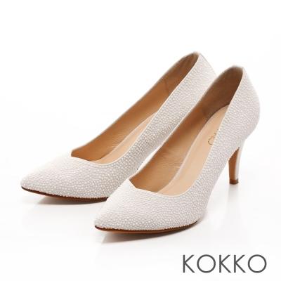 KOKKO-經典手工尖頭璀璨桃心高跟鞋 - 珍珠白