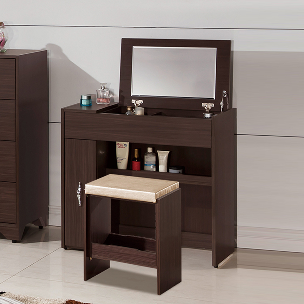 Boden-奧斯汀2.7尺掀式化妝桌/鏡台(贈化妝椅)-81x41x80cm