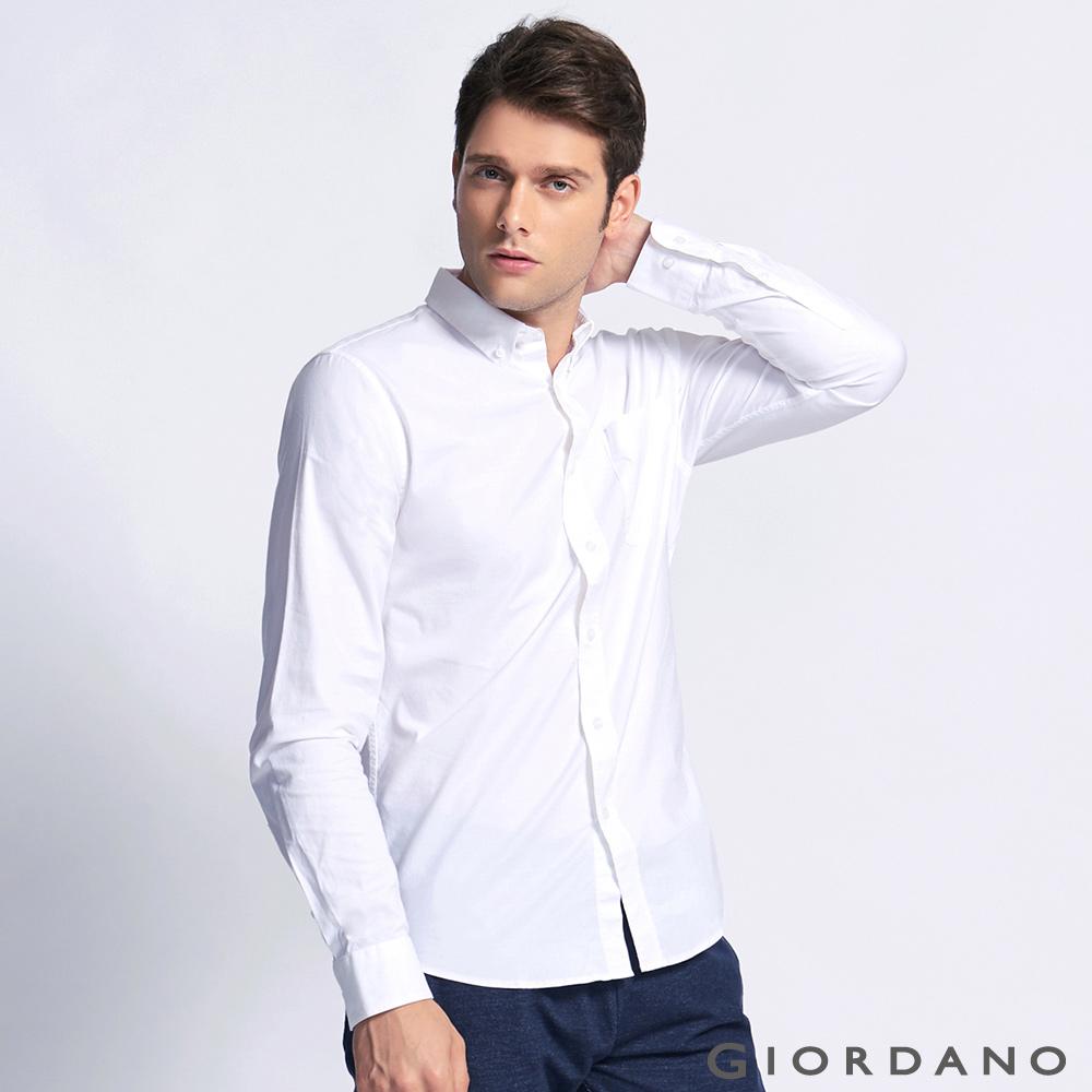 GIORDANO男裝素色牛津紡修身單邊口袋長袖襯衫13白色