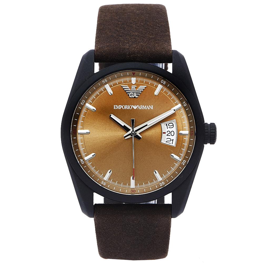 ARMANI 知性時尚風日期顯示手錶(AR6081)-青古銅色面/42mm