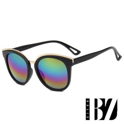 BeLiz 彩虹彼端 金屬雙框反射墨鏡 彩虹