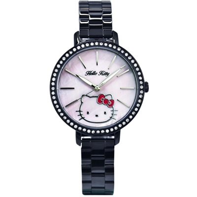 HELLO KITTY 凱蒂貓珍珠貝殼晶鑽錶-黑x粉紅/34mm