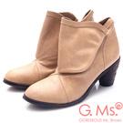 G.Ms. 全牛真皮三角側釦粗跟踝靴-杏色