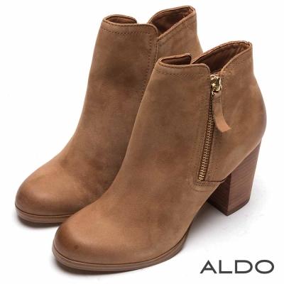 ALDO 原色真皮斜邊拉鍊復古木紋短靴~氣質駝色