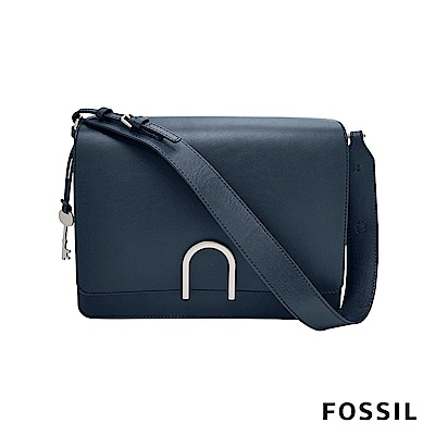 FOSSIL FINLEY 芬利雙格層真皮包-深藍色
