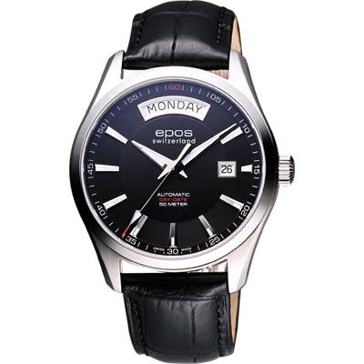 epos Day-Date 復刻機械腕錶-黑/39mm