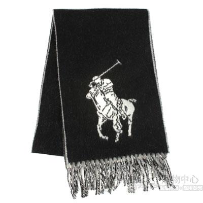 RALPH LAUREN POLO 經典大馬LOGO撞色雙面圍巾-黑/白