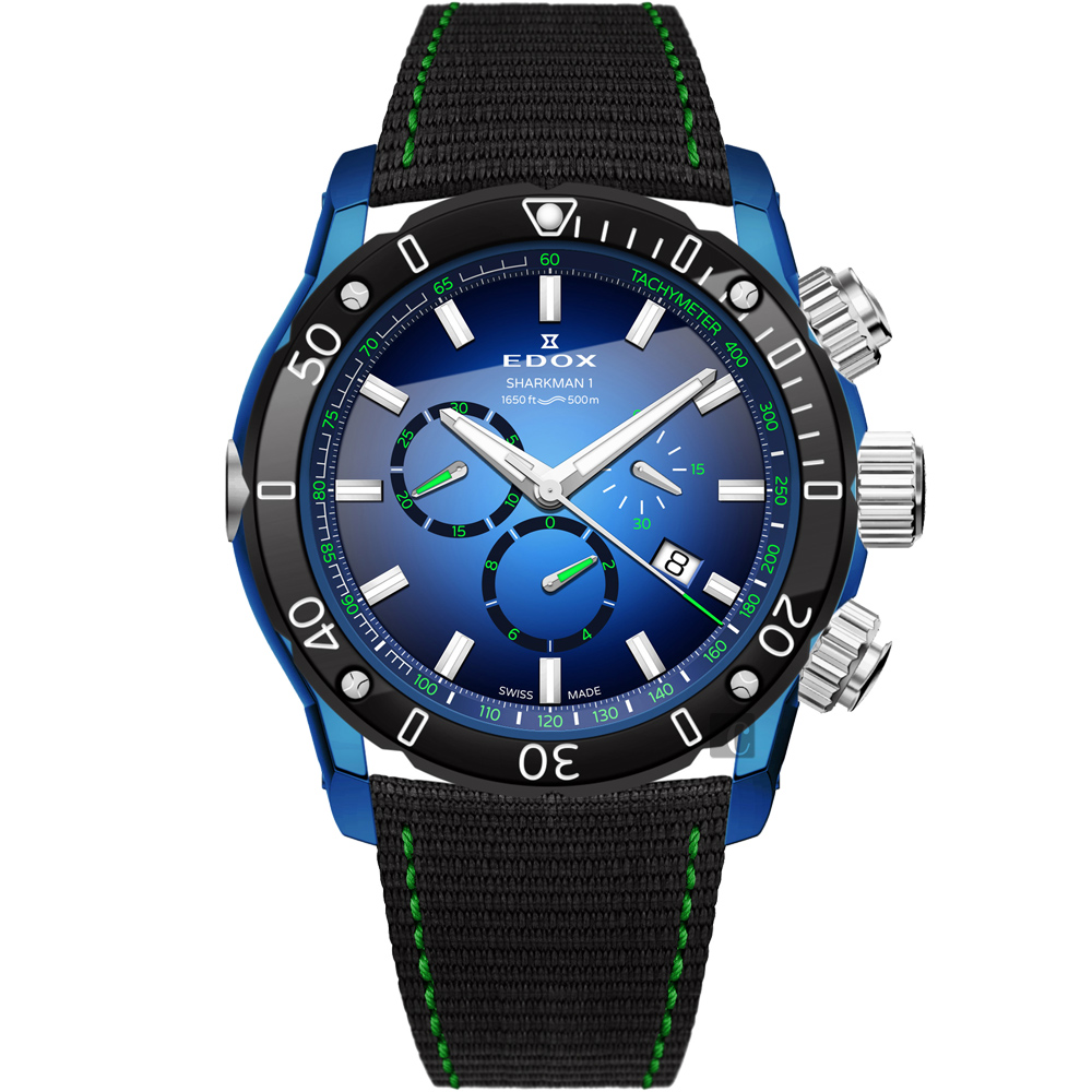 EDOX Sharkman I Limited Edition 潛水計時腕錶-46mm