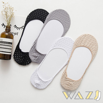Wazi-單色包邊洞洞款隱形襪 (1組四入)