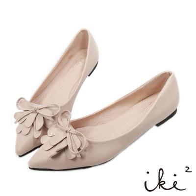 iki2-經典OL花瓣尖頭平底鞋-粉