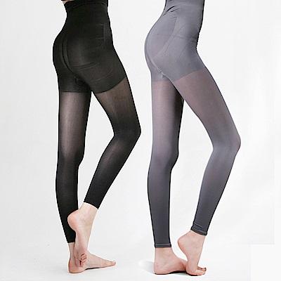 足下物語  台灣製熱感應280丹美臀纖腰內搭褲 2件組S-XL(黑灰)