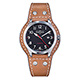 DAVOSA Axis AUtomatic 手工縫製專業護腕全皮帶錶-黑x咖啡色帶 product thumbnail 2