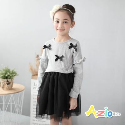 Azio Kids 童裝-洋裝 蝴蝶結荷葉網紗長袖洋裝(灰)